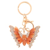 Charm Butterfly Pendant Rhinestone Opal Key Ring for Car Key and Purse Bag