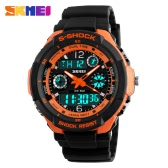 SKMEI 5ATM Water Resistant Dual Time Fashion Men LCD Digital Stopwatch Chronograph Date Alarm Casual Sports Wrist Watch 2 Time Zone