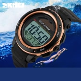 SKMEI Solar Powered Digital Men Women Sports Watch Big Dial 5ATM Water-resistant Multi-function Unisex Wristwatch with Chronograph Alarm Backlight