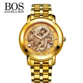 Angela Bos Luxury Golden Chinese Dragon Automatic Mechanical Wristwatch 3ATM Water Resistant Analog Man Self-winding Skeleton Watch