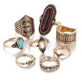 Hot 8Pcs/Set Women Punk Vintage Knuckle Midi Rings Tribal Ethnic Hippie Stone Joint Ring Jewelry Set Gift Fashion Bohemia Boho Metal Alloy