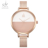 SK 2017 Simplicity Mesh Stainless Steel Women Watches Ultra Thin Dial 3ATM Water-resistant Quartz Casual Wristwatch Rose Gold/Silver