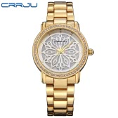 CRRJU Brand Luxury Diamond Stainless Steel Women Watches Water-Proof Skeleton Business Dress Wristwatch Ladies Watch Gift + Box