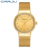 CRRJU Luxury Diamond Mesh Stainless Steel Women Watches Quartz Water-Proof Simplicity Casual Wristwatch Elegant Ladies Watch Gift + Box
