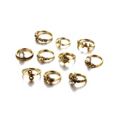 10Pcs Women Accessories Punk Vintage Knuckle Rings Tribal Ethnic Joint Tortoise Ring Jewelry Set Gift