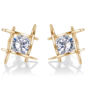 Fashion Unique Square Bright Zircon Crystal Ear Studs Alloy Earrings for Women Jewelry Accessory
