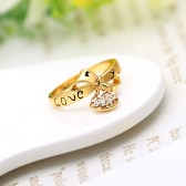 Zircon Love Heart Drop Pendant Letter LOVE YOU Bowknot Ring 18K Gold Plated Fashion Wedding Jewelry for Girl Women