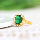 18K Gold Plated Green Big Zircon Ring Vintage Retro Fashion Wedding Jewelry for Girl Women