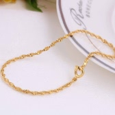 18K Gold Plated Twisted Chain Fine Bracelet Jewelry Gift for Lady Girl Women