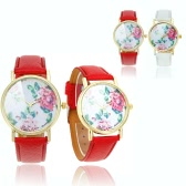 Stylish Ladies Quartz Wrist Watch Retro Peony Flowers Design Red