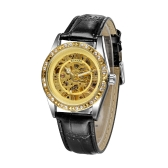 WINNER See-through Skeleton Self-winding Automatic Mechanical Watch Shining Rhinestone Golden Unisex Analog Wristwatch