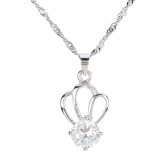Fashion Crown Pendant Crystal Rhinestone Zircon Necklace Chain Jewelry Trinket for Woman Girl