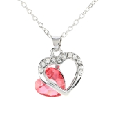 Girl Woman Heart Ring with Glass Crystal Rhinestone Pendant Necklace Chain Jewelry for Wedding Bridal