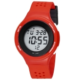 SYNOKE Multifunctional Digital LED Wristwatch Water Resistant Watch Air Permeable Watchband Red