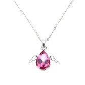 Woman Girl Fashion Romantic Angel Wings Water Drop Pendant Crystal Necklace Chain Jewelry
