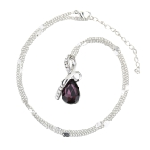 Woman Girl Fashion Romantic Luxurious Angel Tear Water Drop Pendant Rhinestone Crystal Necklace Chain Jewelry