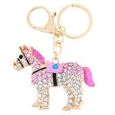 Fashional Jewelry Hollow Shinning Rhinestone Aureate Horse Pendant Key Ring Key Chain