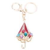 Fashional Jewelry Hollow Shinning Rhinestone Aureate Umbrella Pendant Key Ring Key Chain