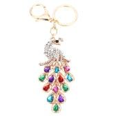 Fashional Jewelry Hollow Shinning Rhinestone Aureate Peafowl Pendant Key Ring Key Chain