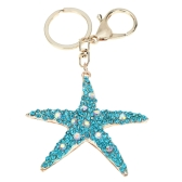 Fashional Jewelry Hollow Shinning Rhinestone Aureate Star Pendant Key Ring Key Chain