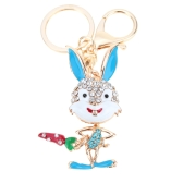 Fashional Jewelry Hollow Shinning Rhinestone Aureate Rabbit Pendant Key Ring Key Chain