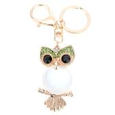 Fashional Jewelry Hollow Shinning Rhinestone Aureate Owl Pendant Pearl-like Body Key Ring Key Chain