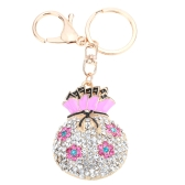 Fashional Jewelry Hollow Shinning Rhinestone Aureate Lucky Bag Pendant Flower Key Ring Key Chain