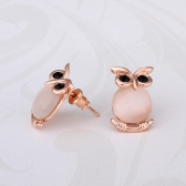 Romacci Elegant Animal Modelling Shinning Rose Gold Owl Earrings Jewelry for Women Girls