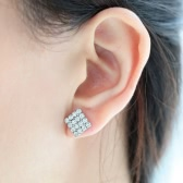 Luxurious Rhinestone Crystal Geometry Square Rhombus Earring Jewelry Accessories for Woman Girl