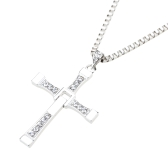 Fashion Luxurious Speed and Passion Crystal Rhinestone Cross Pendant Necklace Chain Jewelry for Men Women
