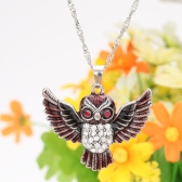 Fashion Vintage Retro Crystal Rhinestone Red Eyes Flying Owl Pendant Necklace Sweater Chain Metal Alloy Bird Jewelry for Woman Girl