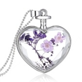 Fashion New Jewelry Romantic Transparent Crystal Glass Heart Shape Floating Locket Dried Flower Plant Specimen Golden/Silver Pendant Chain Necklace for Women Girls