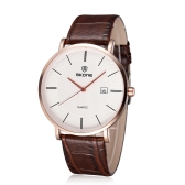 SKONE Ultra Thin Casual Vintage Men Wristwatch Big Dial Water-resistant Quartz Watch for Men with PU Leather Strap