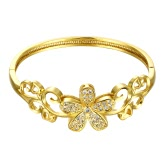 Brass Bangle Bracelet with AAA Zircon Flower and An Opening Golden & Rose Golden Fashional Accessories for Women