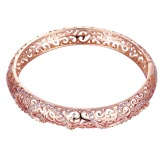 Hollow Brass Bangle Bracelet Embedded with AAA Zircon with An Opening & Curly Lines Golden & Rose Golden Fashional Accessories for Women