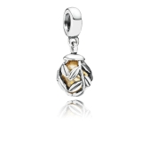 Romacci Yellow Coloured Glaze Bead & Leaves Pendant S925 Sterling Silver Fits for Charm Bracelet/Bangle DIY Women Jewelry