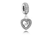 Romacci Red Heart-shaped Pendant S925 Silver CZ Zircon Fits for Charm Bracelet DIY Women Jewelry