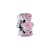Romacci Pink Rose Enamel Bead S925 Sterling Silver for European Charm Bracelet DIY Women Jewelry