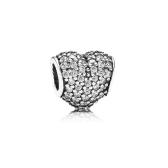 Romacci Heart-shaped Bead CZ Diamond S925 Silver for European Charm Bracelet DIY Women Jewelry