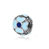Romacci Enamel Primula Bead S925 Sterling Silver for European Charm Bracelet DIY Women Jewelry