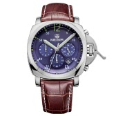 MEGIR Genuine Leather 3ATM Water Resistant Fashion Wristwatch Quartz Men Watch with Calendar