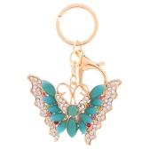 Charm Butterfly Pendant Rhinestone Opal Key Ring for Car Key and Purse Bag