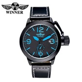 WINNER Creative Low-key Luxury Automatic Mechanical Watch Water Resistant Self-winding Analog Man Wristwatch with Striking Arabic Hour Markers Calendar