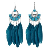 Vintage Big Long Earrings Bijoux Gift Fashion Feather Earring Women Bohemian Ethnic Tassel Dangle Earrings