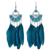Vintage Big Long Earrings Bijoux Gift Fashion Feather Earring Women Bohemian Ethnic Tassel Dangle Earrings