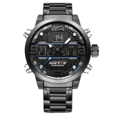 RISTOS Dual Display Quartz Digital Men Watch Water-Proof EL Sports Military Watch Stainless Steel Band Chrono Alarm Hourly Chime Date/Week + Box