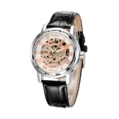 WINNER Excellent Hand-winding Mechanical Watch Luxury Hand Wind Up Hollowed-out Transparent Dial PU Leather Strap Chic Brand Unisex Wristwatch