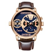 GUANQIN Sapphire Luminous Dual Time Display Quartz Men Watch Sports Chronograph Leather Water-Proof Man Casual Wristwatch + Box