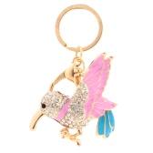 Fashion Enamel Bird Dangle Pendant Key Ring Crystal Rhinestone Animal Keyring Jewelry Car Key Chain Purse Bag Charm Accessory Gift