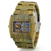 Men Dual Time Environmental High Quality Verawood Wristwatch Water Resistant Trendy Luminous Watch with Calendar & Alarm